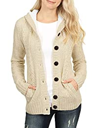 249d464f39 Aleumdr Womens Warm Button Up Knit Hooded Sweater with Pockets Cardigans  Pullover Outwear