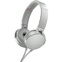 [Cable] Sony MDR-XB550APW - Auriculares de diadema Extra Bass (micrófono integrado compatible con Smartphones, diadema metálica adaptable) color blanco