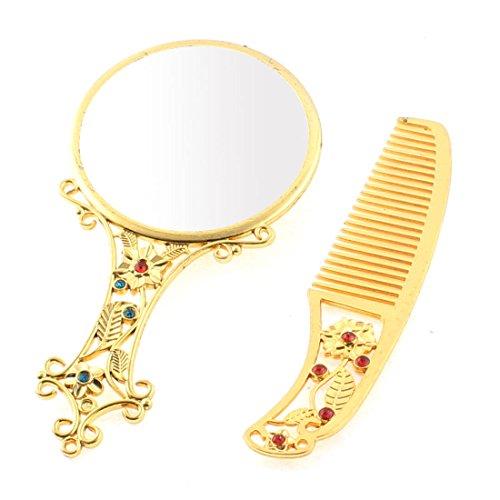 sourcingmap Sac main motif fleur Miroir cosmétique compacte Ensemble Cadeau peigne Or