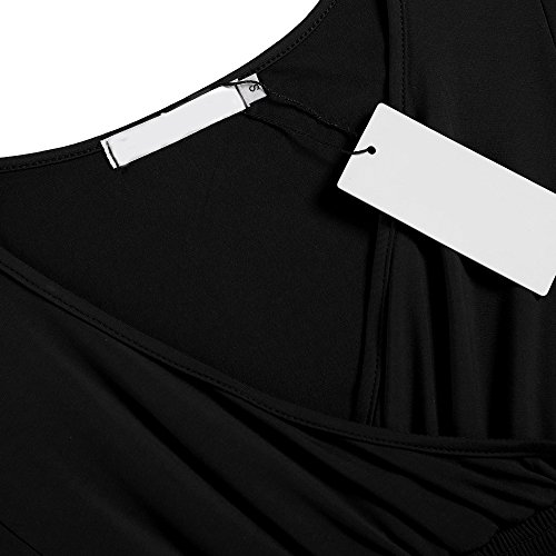 cooshional T Shirt V-ausschnitt, Elegant Damen Blusen für Sommer, Batwing Frauen Oberteil Sexy Schwarz