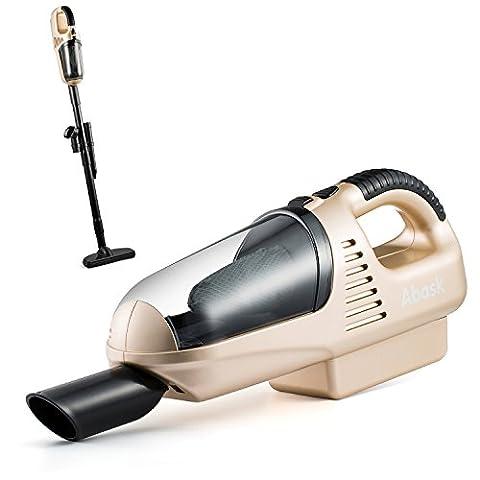 Handstaubsauger, Abask Wiederaufladbare Handgerät Schnurlose Leichtgewicht Staubsauger Wirbelwind Funktion 7.2V 60W 1800MA 3.5KPA Saug-5-in-1 Vakuum-Zubehör Zuhause&Auto(Gold)