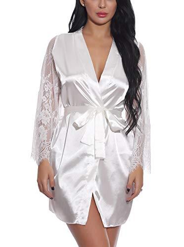 FEOYA Dessous Kimono Robe mit Slip und Gürtel Spitze Lang Ärmel Transparente Damen Nachtwäsche Weiß XL (Dessous Roben Lange)
