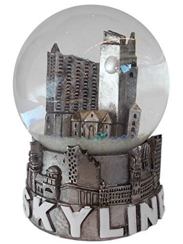 Unbekannt Hamburg Skyline Schneekugel Silber Metallic - Dekokugel mit berühmten HH Wahrzeichen - 9 x 6,5 cm