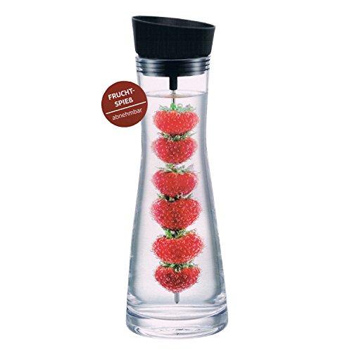 Hochwertige Glaskaraffe mit Deckel-Ausgießer schwarz ca. 1 Liter + Früchtespieß