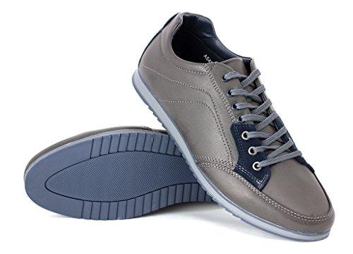 hommes décontracté Formateurs De Toile Lacent Vers Le Haut Chaussures Marche Course chaussures UK 6 7 8 9 10 11 Gris/bleu marine