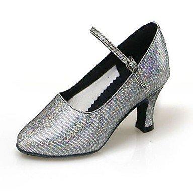 XIAMUO nicht anpassbar - die Frauen / Kids Dance Schuhe funkelnden Glitter/Synthetische funkelnden Glitter/Synthetische moderne High Heels Cuban Heel Hellblau
