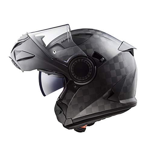 Sunzy Modulares Helm-Doppelvisier, abnehmbares Innenfutter aus Carbonfaser für Männer mit offenem Gesicht und modularem 3/4-Helm, DOT-zertifizierter ECE-Standard,XL