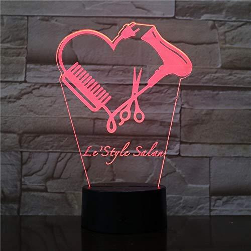Luz de noche 3D, lámpara de noche, noche, mesa de escritorio, iluminación, estilista de personalizada Nombre de peluquero Tijera Iluminación decorativa Regalo de peluquero Regalo de Halloween