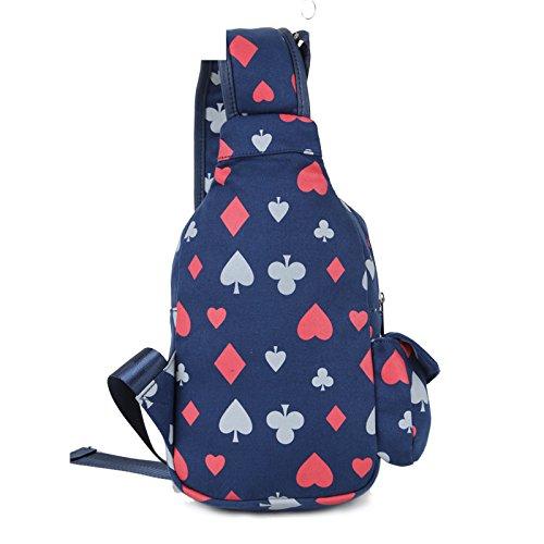 xb-06japanischen Stil, Druck Damen Lady Leinwand Brust Tasche New Beliebte Triangle Bag Rucksack Messenger Bags Mehrzweck-Schule Sport auf Reisen Gym Radfahren Radfahren Tasche Poker Pattern 25CM×16C Poker Pattern