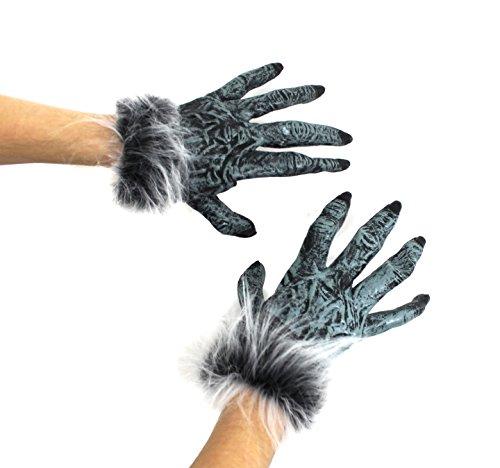 ILOVEFANCYDRESS Unisex Halloween Wolf Handschuhe mit Fell und Venen ()