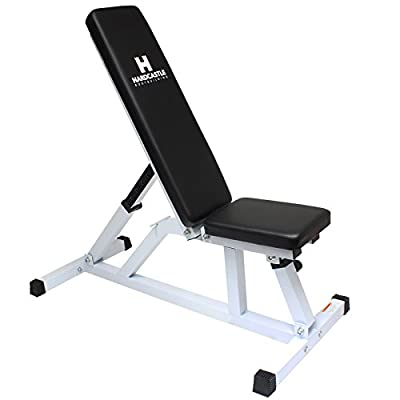 Hardcastle White Flat/Incline Adjustable Weight Bench from Hardcastle Bodybuilding