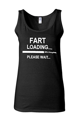 Fart Loading Please Wait Novelty White Femme Women Tricot de Corps Tank Top Vest *Noir