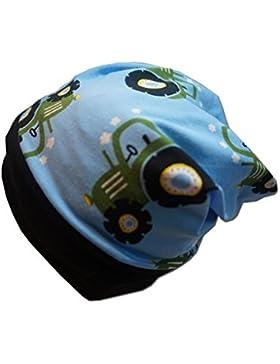 Beanie-Mütze Beanie TRECKER / TRAKTOR Kindermütze in blau mit schwarzem Bündchen Bund , für Jungen Jungs, Kleinkinder...