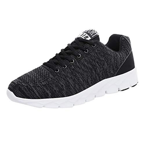 CUTUDE Herren Sneakers Walking Freizeit Student Schuhe Atmungsaktive Mesh Ultra-Leicht Schnürschuhe Laufschuhe Frühling Sommer (Schwarz, 40 EU)