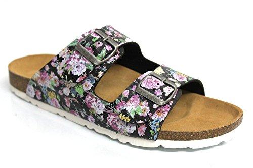 Sweet Malaga pour femme en cuir boucle Semelle d'été Sandales Taille 3–8 multicouleur - Motif floral