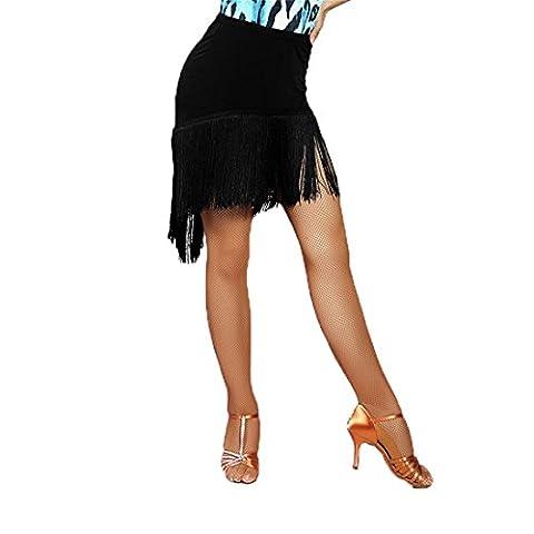 G2005 latin dance irregular tassels short swing skirt (black,