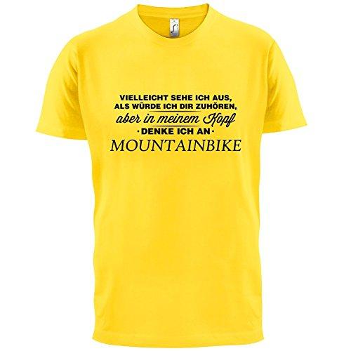 Vielleicht sehe ich aus als würde ich dir zuhören aber in meinem Kopf denke ich an Mountainbike - Herren T-Shirt - 13 Farben Gelb