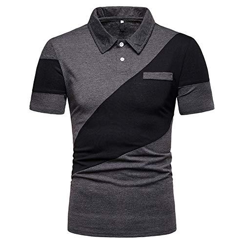 Buberryi Männer Polo-Shirt,Sommer Baumwolle Atmungsaktiv Kurzarm Hemd,Slim Fit Zweifarbig Brust Tasche T-Shirt,Freizeit Sweatshirt,Gray,L