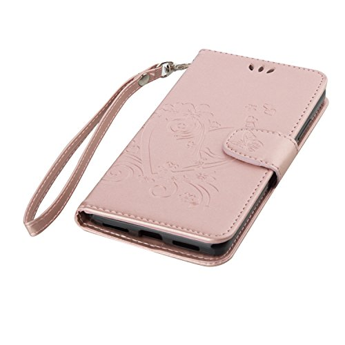 Coque Etui Housse Luxe Stand et Portefeuille Huawei Honor 5X, Cozy Hut® Fleurs En Forme De Coeur Motif Design pour Huawei Honor 5X,imprimé étui en cuir PU Cuir Flip Magnétique Portefeuille Etui Housse Or Rose