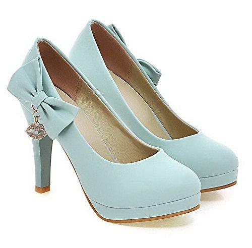 AgooLar Femme Tire Pu Cuir Rond Stylet Couleur Unie Chaussures Légeres Bleu