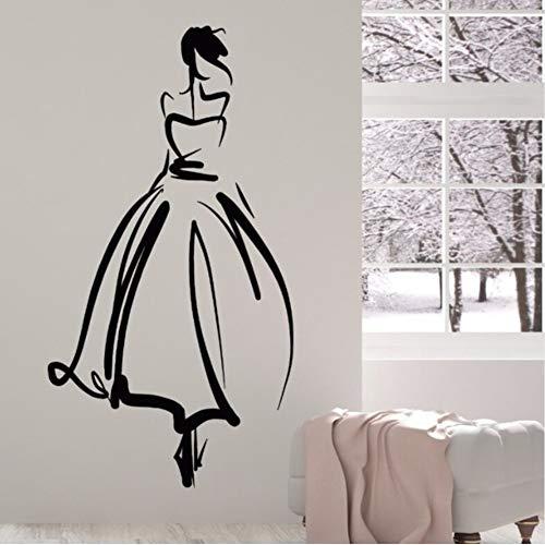 Vinyl Wandtattoo Prinzessin Schöne Dame Aufkleber Hochzeitssalon Braut Wandkunst Wand Hochzeit Shop Dekoration 57 * 106 Cm ()