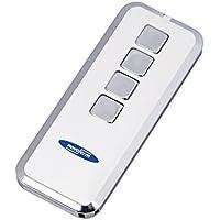 Garaje mando a distancia/emisor manual de Mini Novotron 524Diseño | 4canales transmisor con Keeloq Cambio de código, 64O. 128Bit cifrado, 433MHz, Plata/Blanco, (botón incluido)