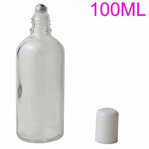 Botella enrollable de cristal vacío transparente de 100 ml con bolas de acero inoxidable para bálsamos de labios de aceite esencial, perfume, arce, embalaje, química, laboratorio, dispensador de botellas