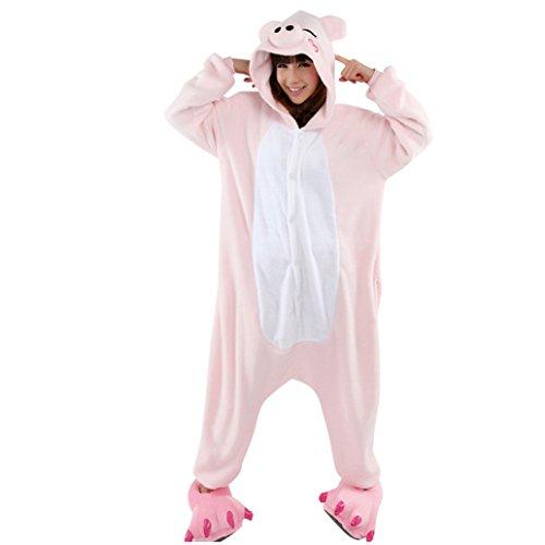 Keral Unisex Pyjama Tierkostüme Schlafanzug Tier Onesize mit Kapuze Erwachsene Overall Kostüm festival tauglich Ente Rosa Schwein Größe (Schwein In Einem Kostüm)