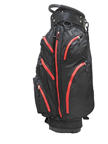 100% Waterproof Golf Cart Bag 2015-6 Stock Black/Red – Clearance
