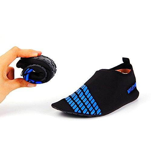 MORESAVE Uomo Donna scarpe di pelle di acqua scarpe calze d'acqua in piscina esercizio spiaggia nuotare slittamento su Surf blu