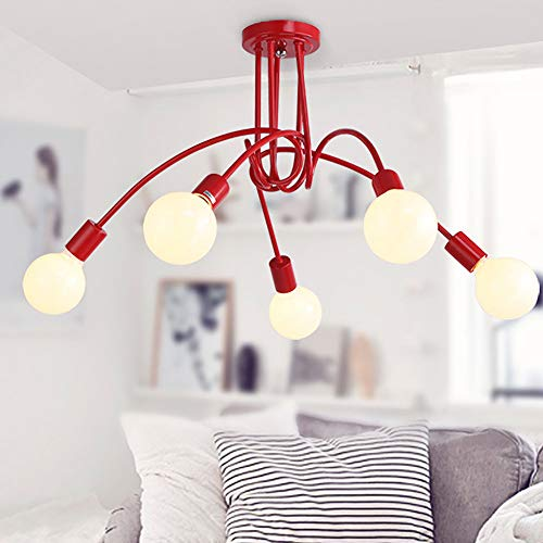 Industrial Deckenleuchte 5-flammig Metall Vintage Pendelleuchte LED Kronleuchter E27 Anhänger Lampe Retro Kreative Beleuchtung Rot