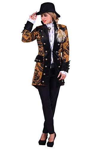 Jacke Kostüm Gelbe - Thetru Damen Kostüm Barock Brokat Jacke gelb-schwarz Karneval Gr.2XL