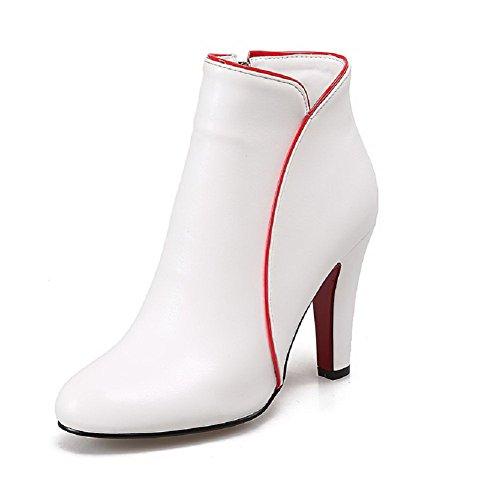 AllhqFashion Damen Reißverschluss Hoher Absatz PU Rein Knöchel Hohe Stiefel, Weiß, 37