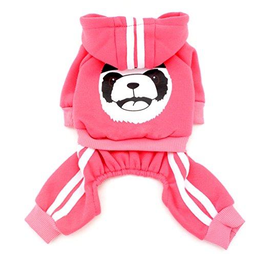 tore Dick Warm Panda Hoodies schwitzt Shirt Hund Jumpsuits Fleece, Pink, klein (Halloween-fleece-stoff)