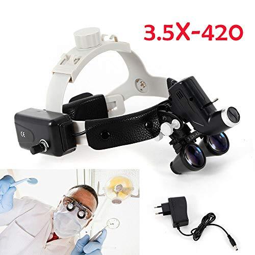 3,5X420mm LED Dental Binocular Loupes Chirurgisch Zahnheilkunde Stirnbandlupen Kopflampe, DHL!!