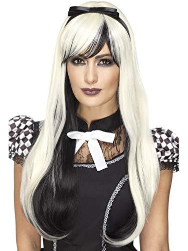 Halloweenia - Damen hochwertige schwarz weiße Gothic Alice Perücke Deluxe mit Haarband, hitzebeständig, perfekt für Halloween Karneval und Fasching, Weiß