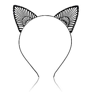 HLSUSAN 3 STK Stirnband Gitter Katzenohren Haarband Damen Mädchen Haarreifen Haarschmuck Weihnachten Geschenk Kostüme Deko für Karneval Fasching
