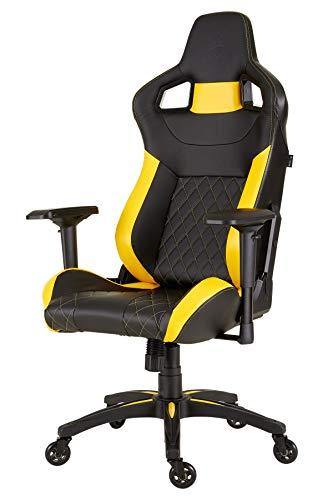 chreibtisch- und Gaming-/ Bürostuhl, mit hoher Rückenlehne, Lederimitat, schwarz/gelb ()
