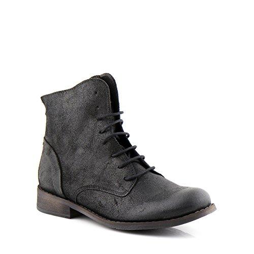 Felmini - Chaussures Femme - Tomber en amour avec Beja 1072 - Bottes Lacées Cuir Véritable - Noir Noir