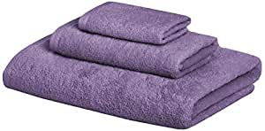 AmazonBasics 100% Cotton Quick-Drying 3-Piece Towel Set - 400 GSM - Lavender