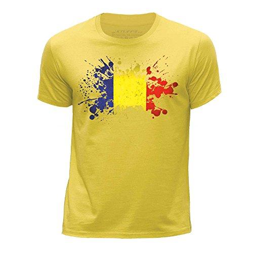 STUFF4 Jungen/Alter 12-14 (152-164cm)/Gelb/Rundhals T-Shirt/Tschad Flagge Splat (T-shirt Chad Flag)