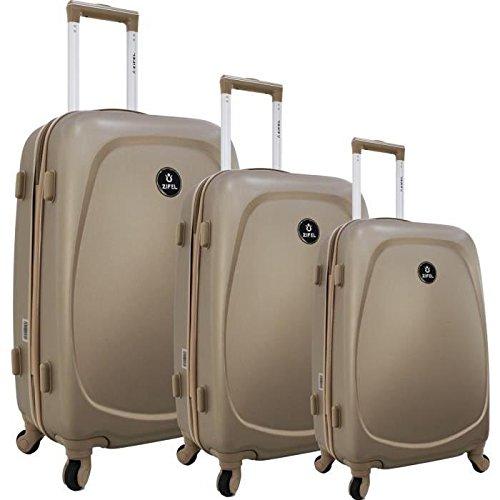 Preisvergleich Produktbild zifel Set 3 teiliges Kofferset Hartschale ABS 4 Räder S Portugal Champagner
