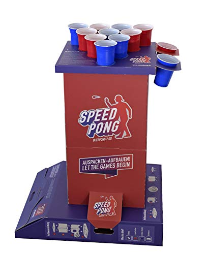 Speedpong Komplettset - Beer Pong 2 Go inkl. 12 Red & Blue Cups, Spielsäule und Bier Pong Bälle - Bier-cup