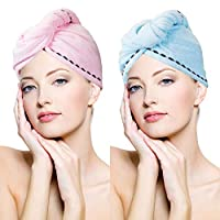 Cayyly 3 Pack Microfiber Hair Towel Wrap Super Absorbent Twist Turban Fast Drying Hair Caps with Buttons Bath Loop Fasten Salon Dry Hair Hat Pink Blue Rose Red