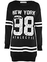 Frauen Plus Size 98 Newyork Varsity Winter-Vlies-Sweatshirt Lange Pullover Tops 36-50