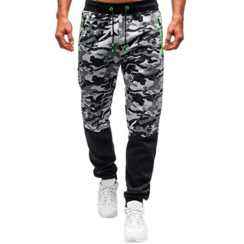 SHE.White Herren Camouflage Jogginghose mit Tasche Freizeit Loose Sporthose Regular Fit Patchwork Trainingshose Freizeithose Pants Herrenhose