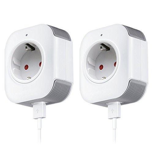 WiFi Smart Steckdose, MEAMOR Intelligente WLAN Steckdose, Kompatibel mit Alexa und Google Home, USB Port, Timing Funktion, Fernbedienung Ihre Geräte überall (2 Pack)