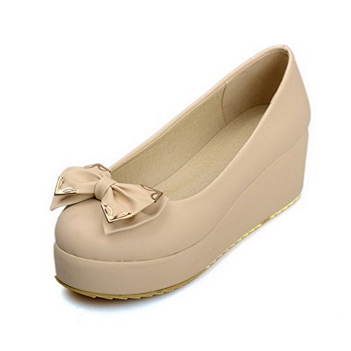 AgooLar Femme Matière Souple Tire Rond à Talon Correct Couleur Unie Chaussures Légeres Beige
