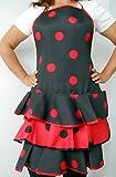 Delantal Flamenca económico Talla ünica de Adulto Color Negro y Lunares Rojos. Material algodón y Poliester.
