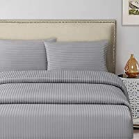 Silver Double Size 150 x 200 + 30 cm Hotel Linen Fitted Bed Sheet